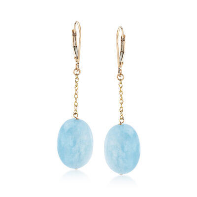 30.00 ct. t.w. Aquamarine Drop Earrings in 14kt Yellow Gold, , default