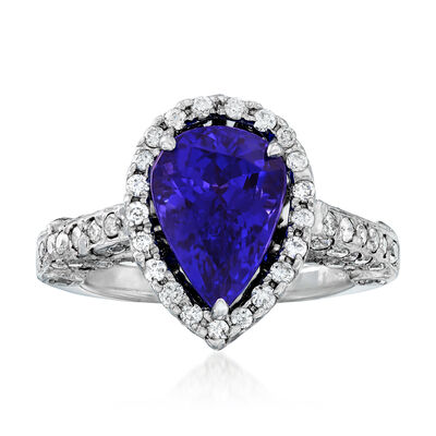 3.60 Carat Tanzanite and 1.05 ct. t.w. Diamond Ring in 18kt White Gold, , default