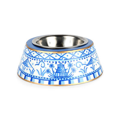 White and Blue Pagoda Pet Bowl