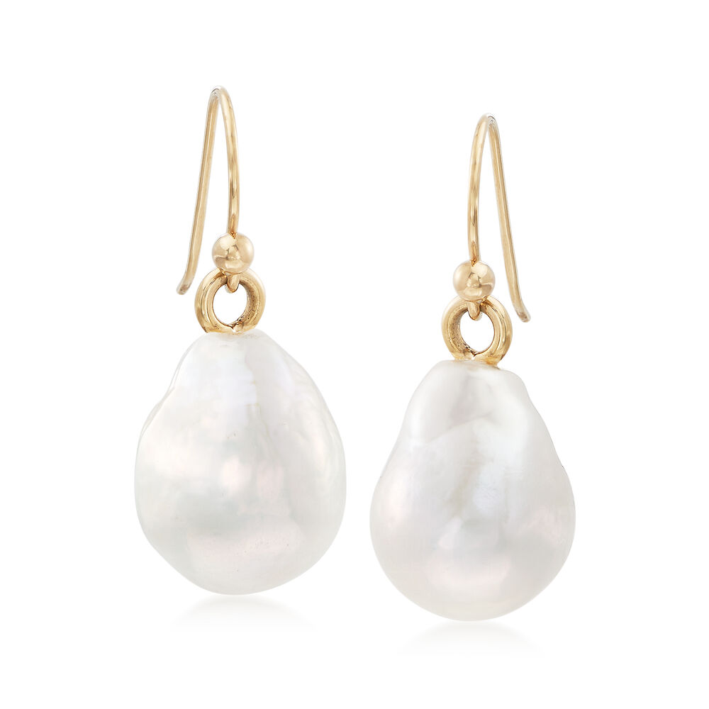 12 14mm Cultured Baroque Pearl Drop Earrings In 14kt Yellow Gold Default