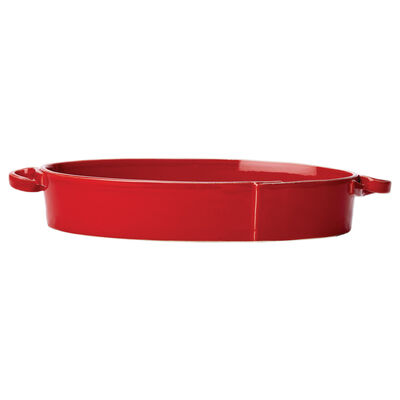 "Vietri ""Lastra"" Red Handled Oval Baker from Italy, , default"
