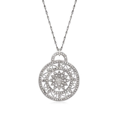 C. 1990 Vintage 1.10 ct. t.w. Diamond Flower Pendant Necklace in 14kt White Gold, , default