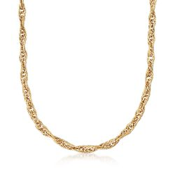18kt Yellow Gold Large Link Rope Chain Necklace, , default