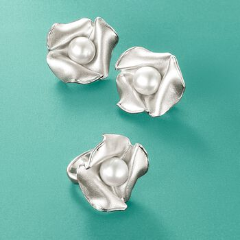 Italian 9.5-10mm Cultured Pearl Floral Ring in Sterling Silver, , default