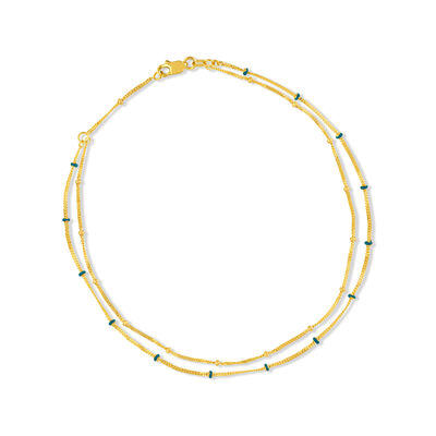 14kt Yellow Gold and Blue Enamel Double-Strand Beaded Anklet, , default