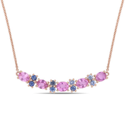 2.58 ct. t.w. Pink and Blue Sapphire Necklace in 14kt Rose Gold