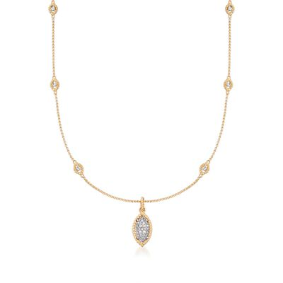 "Roberto Coin ""Barocco"" .64 ct. t.w. Diamond Station Necklace in 18kt Two-Tone Gold"