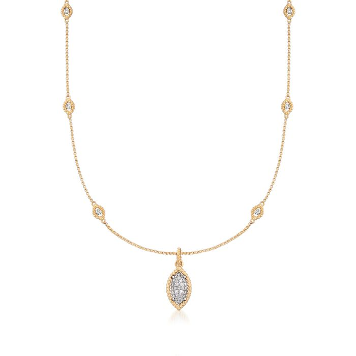 """Roberto Coin """"Barocco"""" .64 ct. t.w. Diamond Station Necklace in 18kt Two-Tone Gold"""