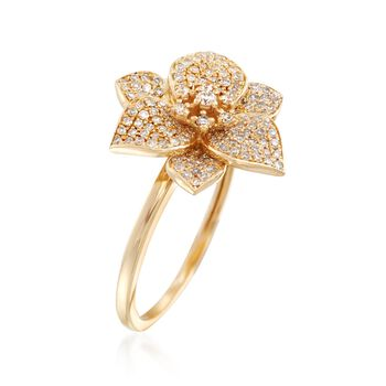 .45 ct. t.w. Diamond Flower Ring in 14kt Yellow Gold, , default