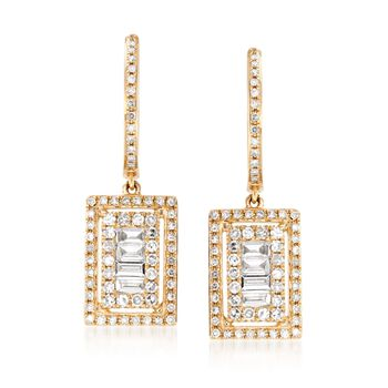.78 ct. t.w. Baguette and Round Diamond Hoop Drop Earrings in 14kt Yellow Gold, , default