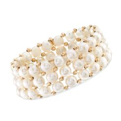 "7.5-8mm Cultured Pearl Woven Stretch Bracelet With 14kt Yellow Gold Beads. 8"", , default"
