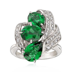 C. 1980 Vintage 4.72 ct. t.w. Green Tourmaline and .36 ct. t.w. Diamond Ring in Platinum, , default