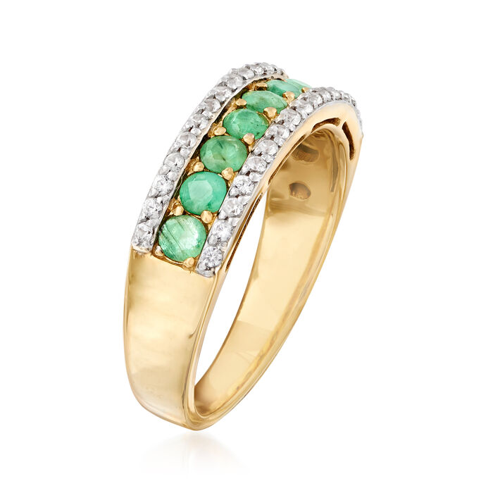.90 ct. t.w. Emerald and .30 ct. t.w. White Zircon Ring in 14kt Gold Over Sterling