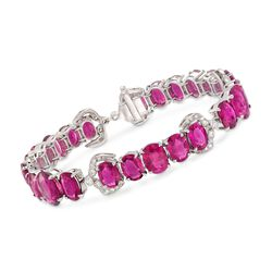 "C. 2000 Vintage 34.52 ct. t.w. Pink Rubellite and .75 ct. t.w. Diamond Bracelet in 18kt White Gold. 7.25"", , default"