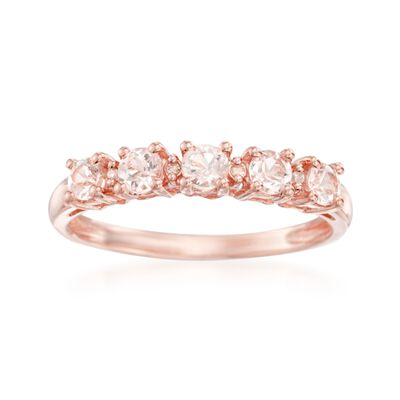 .50 ct. t.w. Morganite Ring With Diamonds in Rose Sterling Silver, , default