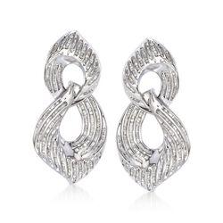 """2.00 ct. t.w. Baguette Diamond Figure Eight Drop Earrings. 1 1/2"""", , default"""
