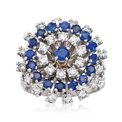 C. 1970 Vintage 1.30 ct. t.w. Diamond and 1.15 ct. t.w. Sapphire Cluster Ring in 14kt White Gold, , default