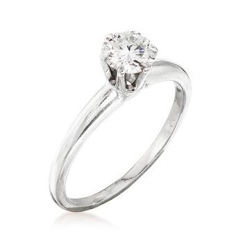 C. 1970 Vintage .65 Carat Diamond Ring in 14kt White Gold. Size 7, , default