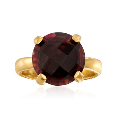 5.75 Carat Garnet Ring in 18kt Gold Over Sterling