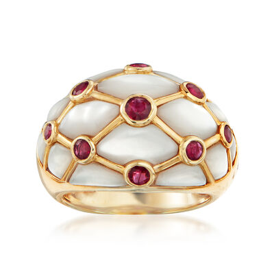 C. 1990 Vintage Mother-Of-Pearl and .60 ct. t.w. Ruby Ring in 14kt Yellow Gold