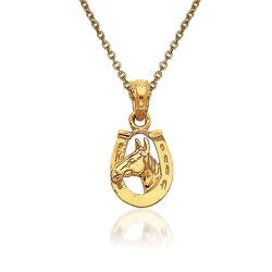 14kt Yellow Gold Horseshoe Pendant Necklace, , default