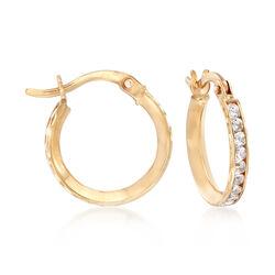 1.00 ct. t.w. CZ Huggie Hoop Earrings in 14kt Yellow Gold, , default