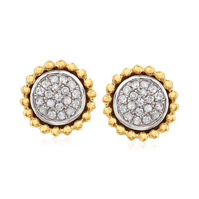 .25 ct. t.w. Diamond Cluster Earrings in 14kt Yellow Gold and Sterling Silver