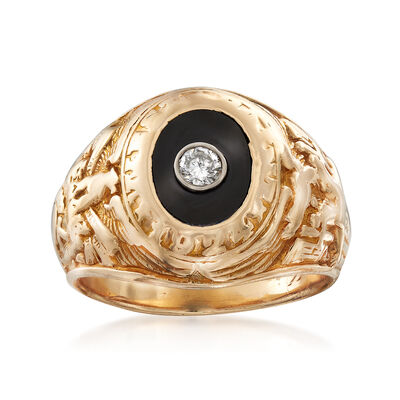 C. 1960 Vintage Tiffany Jewelry Black Onyx and .10 Carat Diamond Ring in 14kt Yellow Gold