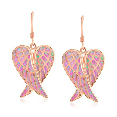 Pink Synthetic Opal Angel Wings Drop Earrings in 18kt Rose Gold Over Sterling