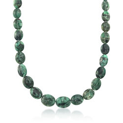 10-18mm Emerald Bead Necklace With Sterling Silver, , default