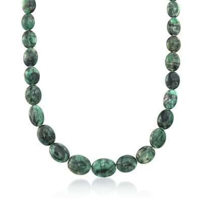 275.00 ct. t.w. Emerald Bead Necklace with Sterling Silver, , default