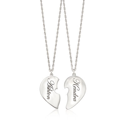 Sterling Silver Jewelry Set: Two Name Heart Necklaces