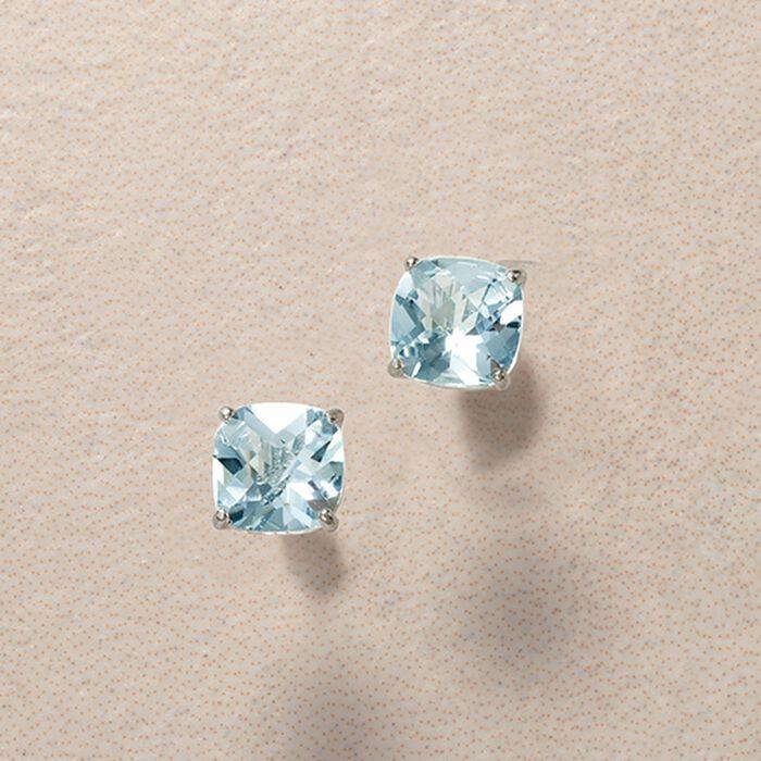 1.50 ct. t.w. Aquamarine Stud Earrings in 14kt White Gold