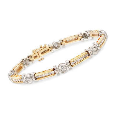 2.50 ct. t.w. Diamond Circle and Bar Bracelet in 14kt Two-Tone Gold