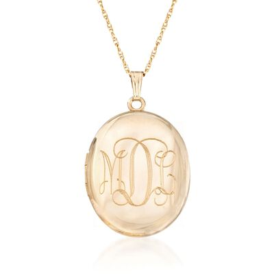 14kt Gold Over Sterling Monogram Locket Necklace, , default