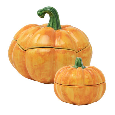 Vietri Figural Covered Pumpkin from Italy