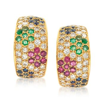 C. 1990 Vintage 2.35 ct. t.w. Multi-Stone and 1.85 ct. t.w. Diamond Floral Earrings in 18kt Yellow Gold, , default