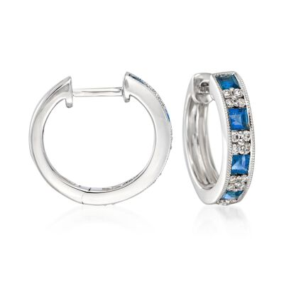 "Gregg Ruth 1.00 ct. t.w. Sapphire and .24 ct. t.w. Diamond Hoop Earrings in 18kt White Gold. 1/2"", , default"