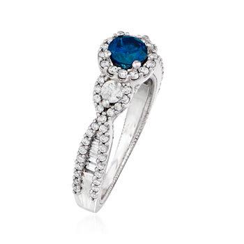 .38 Carat Blue Diamond and .46 ct. t.w. Diamond Ring in Milgrain 14kt White Gold. Size 5