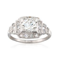 C. 2000 Vintage 1.40 ct. t.w. Diamond Square-Top Ring in Platinum. Size 6.5, , default