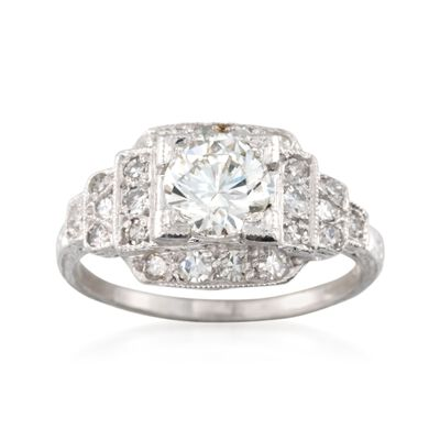 C. 2000 Vintage 1.40 ct. t.w. Diamond Square-Top Ring in Platinum, , default