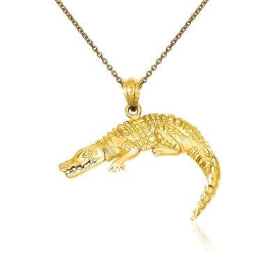 14kt Yellow Gold Alligator Pendant Necklace, , default