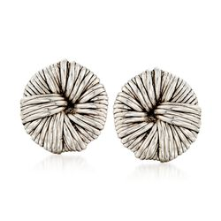 Sterling Silver Roped Knot Clip-On Earrings, , default