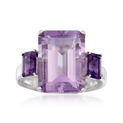 9.00 ct. t.w. Emerald-Cut Amethyst Ring in Sterling Silver, , default
