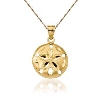 "14kt Yellow Gold Sand Dollar Pendant Necklace. 18"", , default"