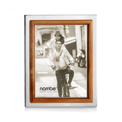 "Nambe ""Hayden"" Frame in Silver Plate and Acacia Wood"