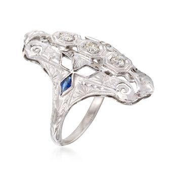 C. 1950 Vintage .20 ct. t.w. Diamond and .10 ct. t.w. Synthetic Sapphire Dinner Ring in 18kt White Gold. Size 4, , default