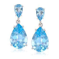 14.00 ct. t.w. Blue Topaz Drop Earrings in Sterling Silver, , default