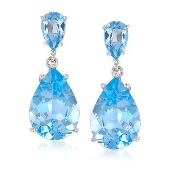 14.00 ct. t.w. Blue Topaz Drop Earrings in Sterling Silver, , default
