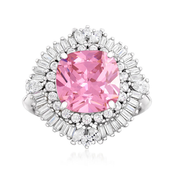 4.25 Carat Pink Simulated Sapphire and .88 ct. t.w. CZ Ring in Sterling Silver